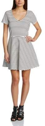 Sugarhill Boutique Women's City Skater Striped Short Sleeve Dress