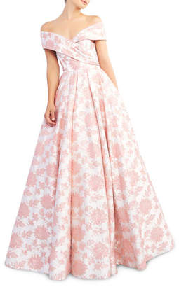 Mac Duggal Ieena for Floral-Print Draped Off-The-Shoulder Short-Sleeve Ball Gown