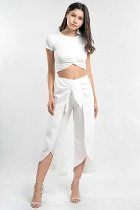 Love Stitch White Wrap Pant