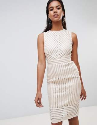 Rare London Sequin Stripe Midi Dress