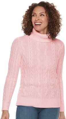 Croft & Barrow Women's Cable-Knit Turtleneck Sweater