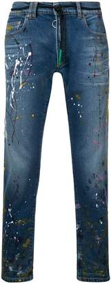 Off-White splatter print stonewashed jeans