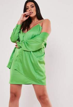 4e702301bf Missguided Plus Size Lime Co Ord Satin Shirt Dress