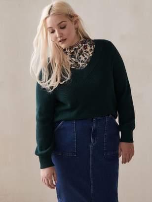 Balloon-Sleeve V-Neck Sweater - Addition Elle