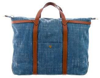 Mismo Leather-Trimmed Woven Weekender