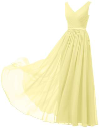 Alicepub Women's V-Neck Bridesmaid Dress Ball Gown Long Prom Party Dress Sleeveless