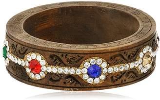 Chamak by Priya Kakkar Wooden Multi-Colored Floral Rhinestone Cuff Bracelet