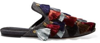 Sanayi313 - Eloise Fringed Wool-tweed Slippers - Gray