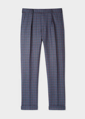 Paul Smith Men's Tapered-Fit Navy Plaid Wool Pants