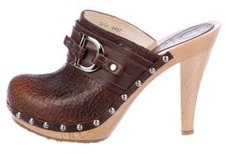 Christian Dior Leather Round-Toe Clogs