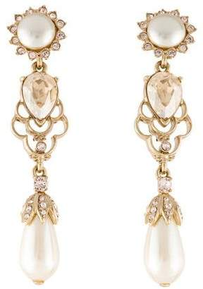 Oscar de la Renta Faux Pearl & Crystal Drop Earrings