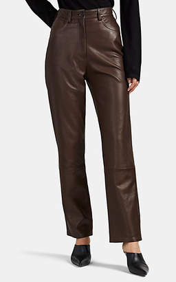 The Row Women's Charlee Leather Straight-Leg Jeans - Brown