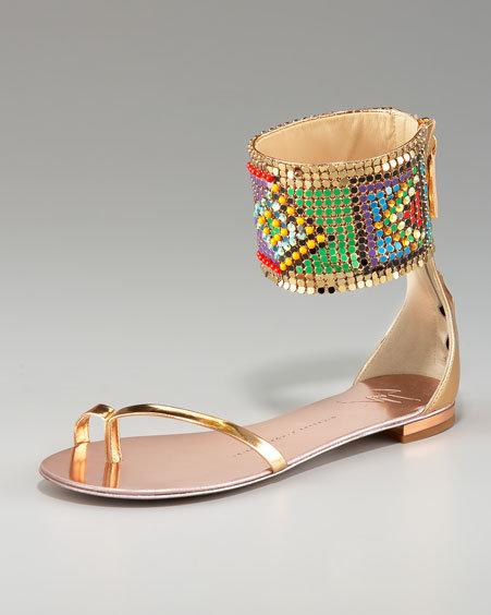 Giuseppe Zanotti Tribal-Cuffed Flat Sandal