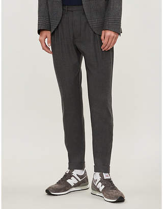Eleventy Loose-fit straight stretch-wool trousers