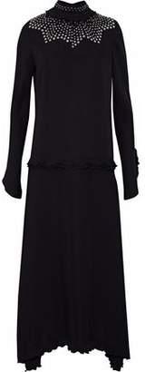 Derek Lam Ruffle-Trimmed Studded Silk Crepe De Chine Midi Dress