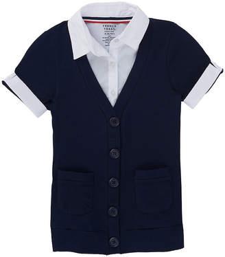 French Toast Girls Collar Neck Short Sleeve Cardigan Preschool