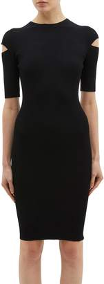 Helmut Lang Cutout sleeve rib knit dress