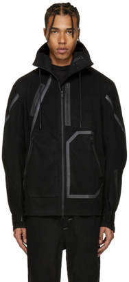 Y-3 Sport Black Wool Hooded Jacket