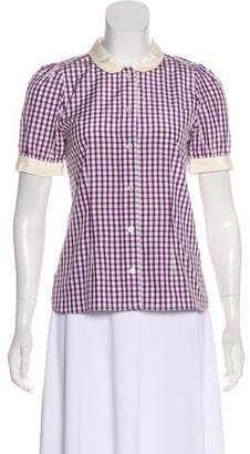 Marc Jacobs Silk-Blend Gingham Top