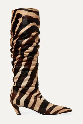 KHAITE Zebra-print Calf Hair Knee Boots - Zebra print