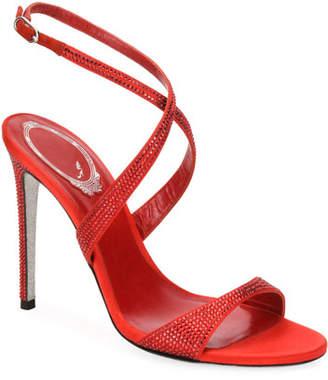 Rene Caovilla Crisscross Crystal Satin Sandals