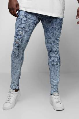 BoohooMAN Big & Tall Acid Wash Skinny Fit Jeans