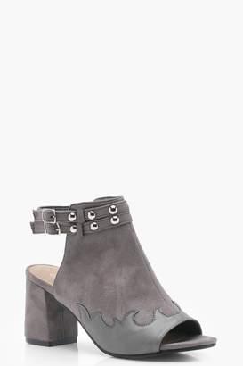 boohoo Stud Trim Western Shoe Boots