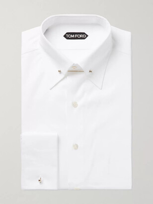 Tom Ford White Slim-Fit Pinned-Collar Double-Cuff Cotton-Poplin Shirt - Men - White