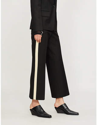 Helmut Lang Side-stripe cootton and silk-satin trousers