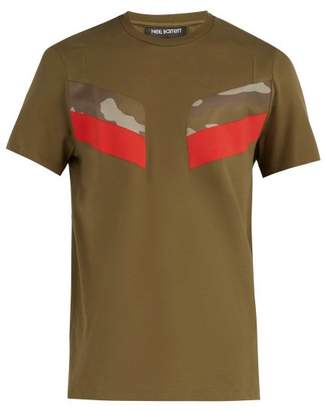 Neil Barrett Modernist Crew Neck Camouflage Panel T Shirt - Mens - Khaki