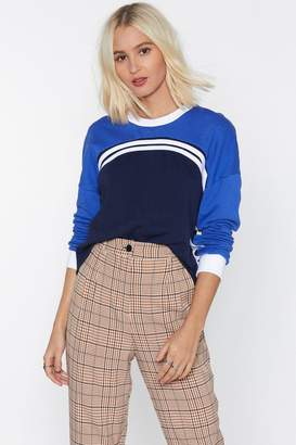 Nasty Gal Don't Sweat the Small Stuff Striped Sweatshirt