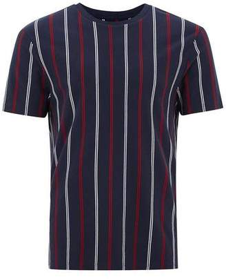 Topman Mens Navy Slim Vertical Stripe T-Shirt
