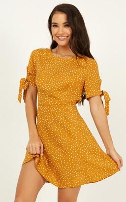Showpo Win You Over dress in mustard polka - 4 (XXS) Curve & Plus Size