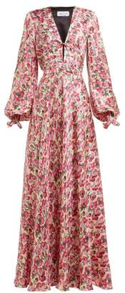 Raquel Diniz Valentina Floral Print Silk Satin Gown - Womens - Pink Multi