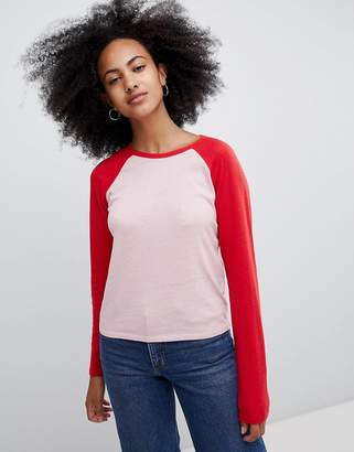Monki Baseball Top In Red And Pink Color Block