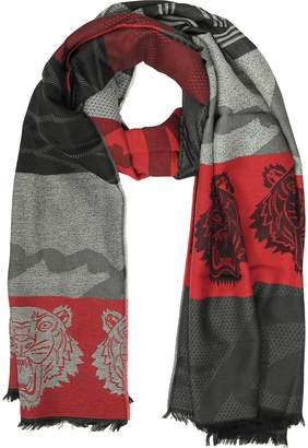 Kenzo Red Wool Intarsia Tiger Scarf