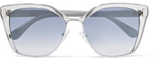 Prada Cat-eye Acetate And Silver-tone Mirrored Sunglasses
