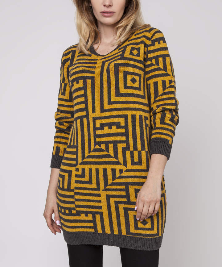 Graphite & Yellow Geometric Three-Quarter Sleeve Sweater - Women & Juniors