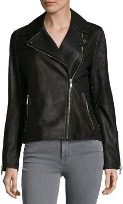 T Tahari Women's Skylar Leather Biker Jacket - Black, Size xs [x-small]