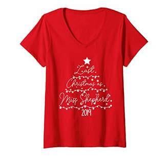 Womens Last Christmas As Miss Shepherd 2019 Xmas Single Girl Gift V-Neck T-Shirt