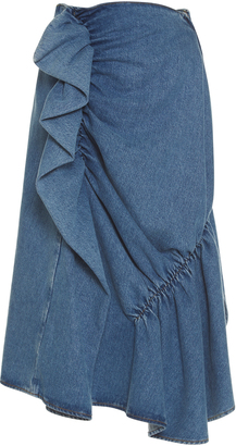 J.W.Anderson High Waist Ruffle Denim Skirt $450 thestylecure.com