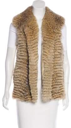 Vince Open-Front Fur Vest