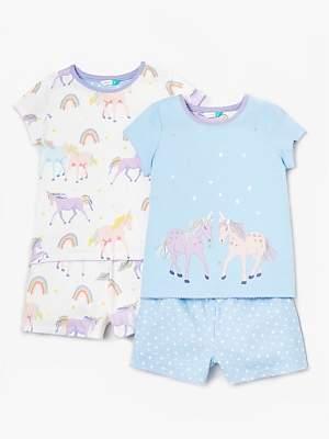 6e00697c1 John Lewis & Partners Girls' Shortie Unicorn Print Pyjamas, Pack of 2, Blue