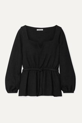 Deitas Liz Belted Tweed Blouse - Black