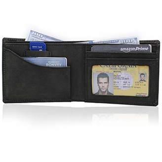 Minimalist Slim Bi-Fold Credit card wallet with 2 inner pockets inside partitions & RFID Protection