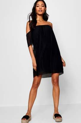 boohoo Off Shoulder Pleat Shift Dress