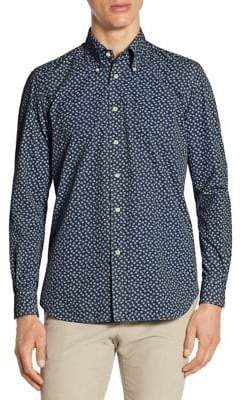 Luciano Barbera Garment-Dyed Snowflake Button-Down Shirt