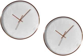 Amalfi by Rangoni Balaclava Metal Frame Wall Clock, White, 40cm (Set of 2)