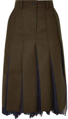 Sacai Pleated Wool-blend And Chiffon Midi Skirt - Army green