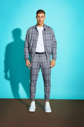 BoohooMAN Jaspe Grid Check Skinny Fit Cropped Trouser